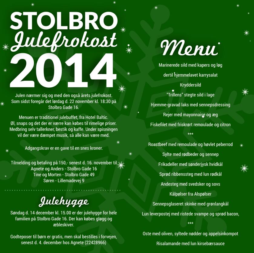 Indbydelse til Stolbro bylaugs julefrokost 2014